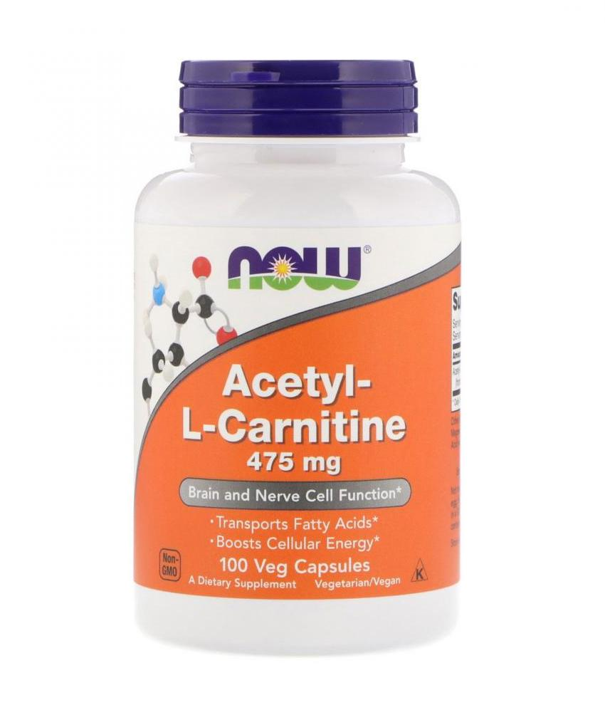 NOW Foods Acetyl-L-Carnitine 100 вег. капсул 475мг.