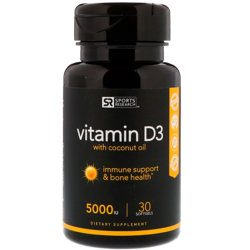 Sports Research Vitamin D3 with coconut oil 5000iu (125мкг) 30 капсул