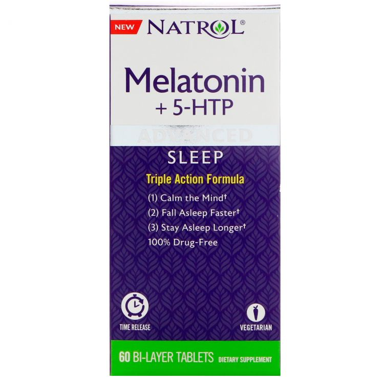 Natrol Advanced Sleep Melatonin + 5-HTP 60 Bi-Layer табл.