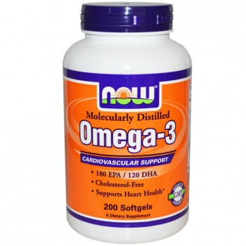 NOW Foods Omega-3 200 капсул по 1000 мг