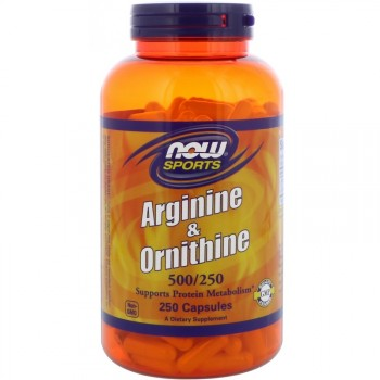 Now Foods Arginine and Ornithine (500мг/250мг) 250 капс.
