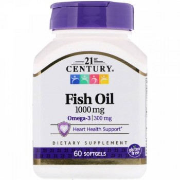 21st Century Fish Oil 1000 мг, 60 капсул
